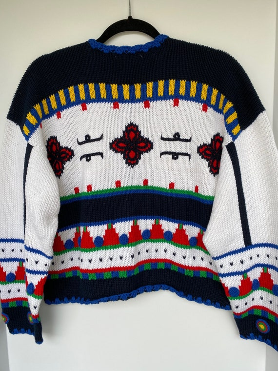 New Vintage Geometric Crop Cardigan Sweater from … - image 2