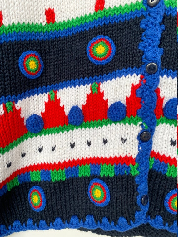 New Vintage Geometric Crop Cardigan Sweater from … - image 3