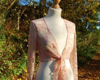 Wrap ballet top coral pink stretch lace small/ medium Haute style ballet en dentelle Rose corail FR34-40