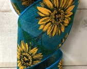 Teal and yellow Sunflower ribbon, 2.5 quot Sunflower wired ribbon, farmhouse ribbon, teal sunflower ribbon, wired ribbon, 61032-40-33