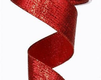 "25 Feet Christmas Valentines Textured Solid Red Woven Wired Ribbon 2 1//2/""W"