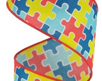 """Autism Ribbon, 2.5"""" Puzzle Pieces  Wired Ribbon, Multi colored Autism ribbon, support ribbon, puzzle piece ribbon, wired ribbon, RGA1523W5"""