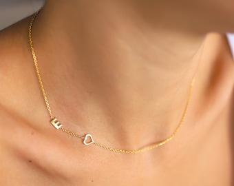Sideway Letter Necklace, Custom Initial Necklace, Personalized Sideways Initial Jewelry, Dainty Initial Necklace, Custom Letter Necklace