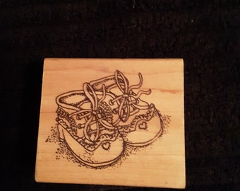 Azadi Earles Open Empty Box Wood-Mounted Rubber StampVintage