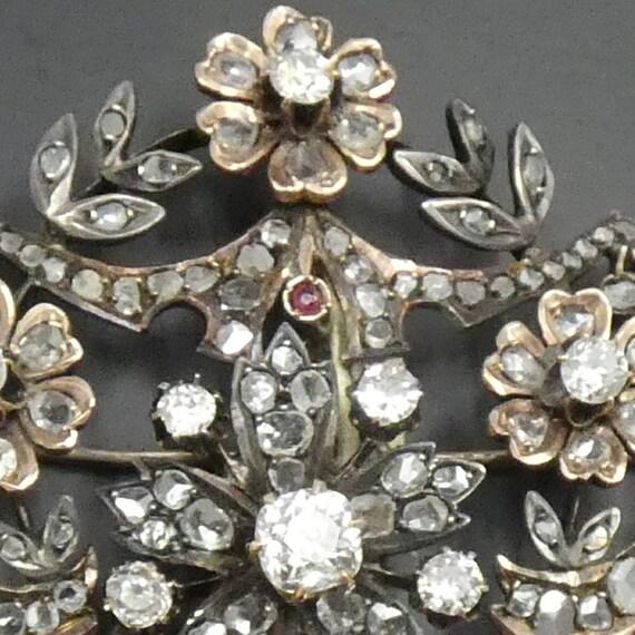 Vintage Diamond and Ruby Brooch - image 2