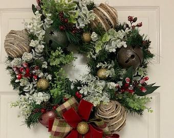 Rustic Evergreen Wreath, Rustic Christmas Wreath, Country Christmas Wreath, Farmhouse Wreath, Rustic Holiday Decor, Rustic Foyer Decor