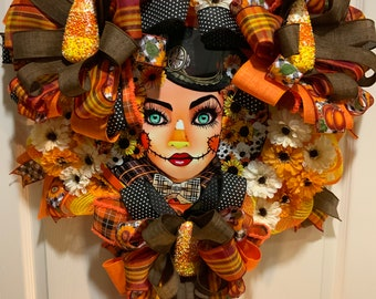 Scarecrow candycorn wreath, Female scarecrow wreath, Candy corn wreath, Autumn Scarecrow wreath, Fall Scarecrow Candy Corn wreath, Fall Door