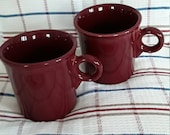 HOMER LAUGHLIN FIESTAWARE red 8 ounce coffee or tea mugs cups excellent condition