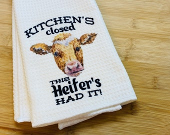 Kitchen Towel Cow Hay Y/'all Kitchen Waffle Towel