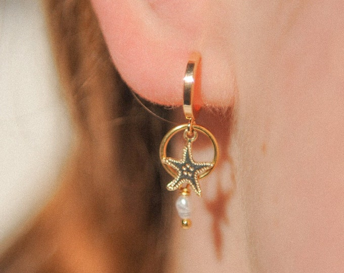 Perle star hoops
