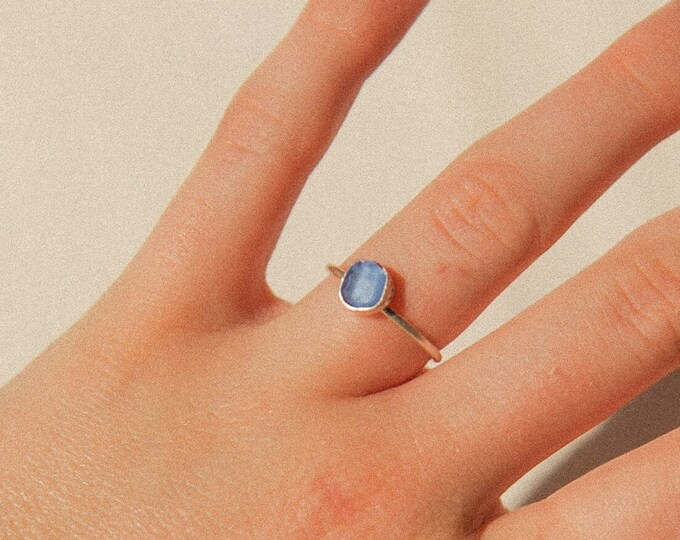 Cornflower Blue Seaglass ring