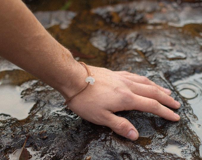 soft leather bracelet with sea glass