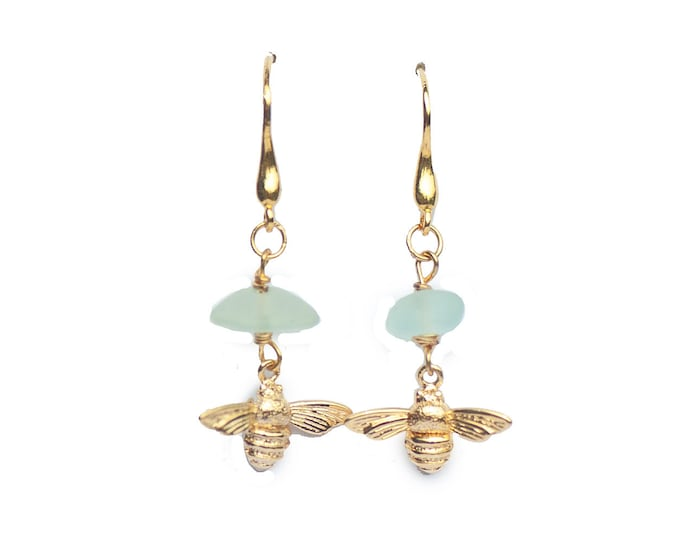 SEAGLASS BEE EARRINGS