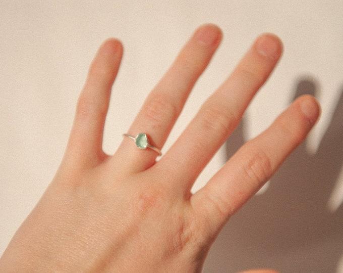 Aqua seaglass ring 1