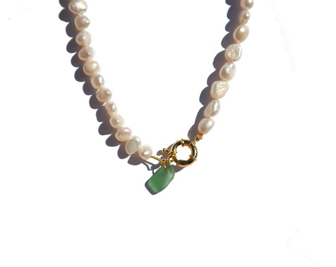 Seaglass pearl necklace