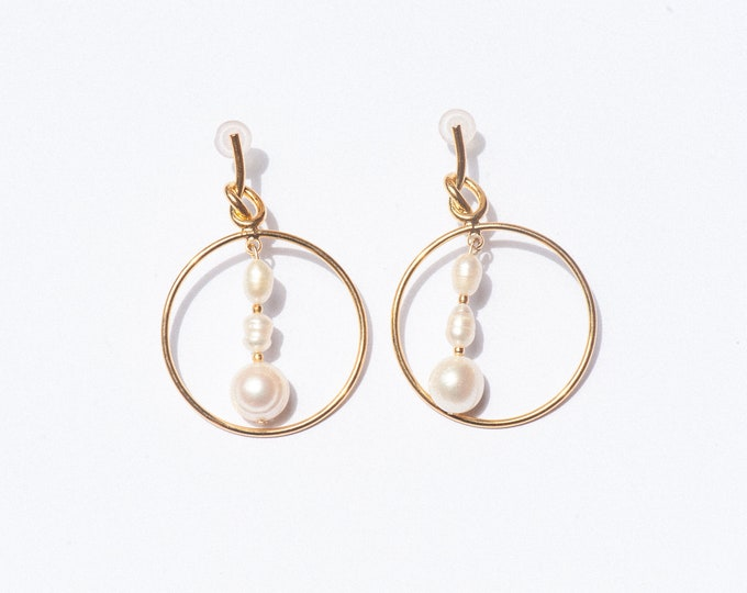 TRIPLE PEARL HOOPS