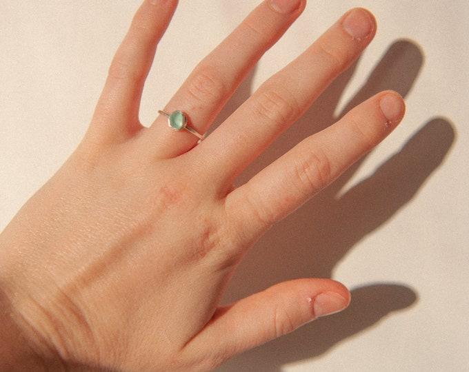 Aqua Seaglass ring 2
