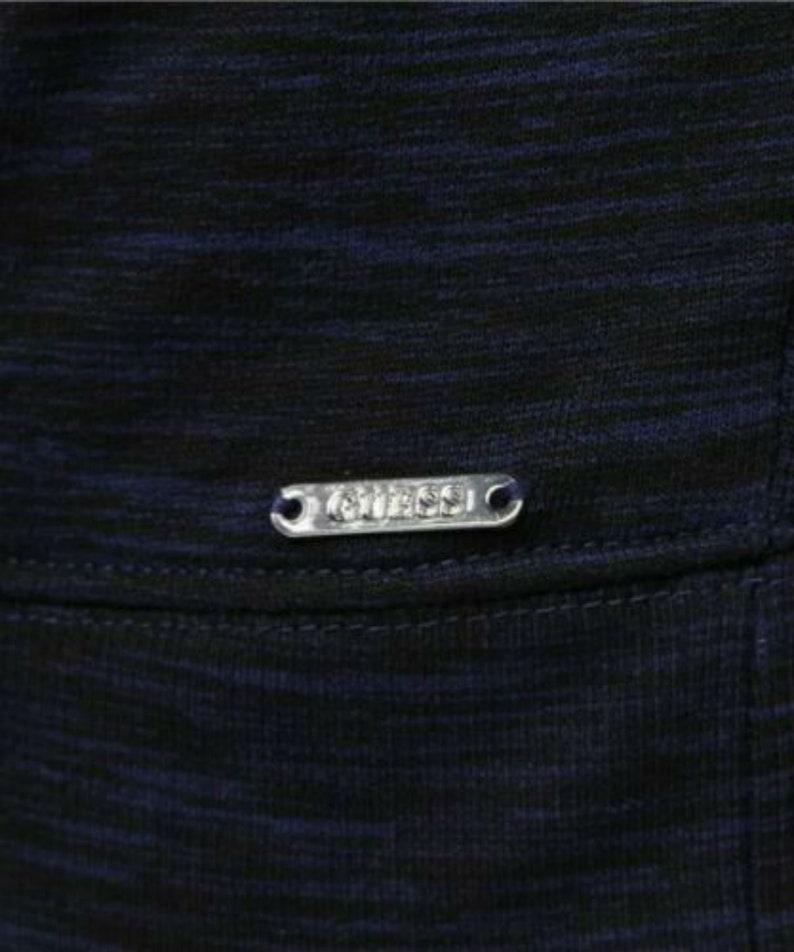 Bnwot Guess Space Dye Finch Moto Hoodie Parka Sweater Top Melange Blue Super Fab