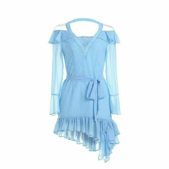 COMINO COUTURE X NAT /& LIV Collection Baby Blue Dotted Frill Mini Dress 6//8//12