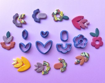 Set #5) 7 Pcs Polymer Clay Cutter Set   Flower Heart Shape Cutters   Clay Tools   Customized Clay Cutters