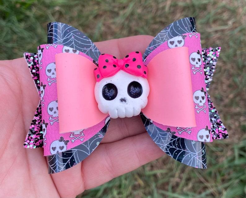 Pink Hair Bow Toddler Hair Bow Spider Web Hair Bow Halloween Bow Glow In The Dark Hair Bow Girls Hair Bow Halloween Skull Hair Bow