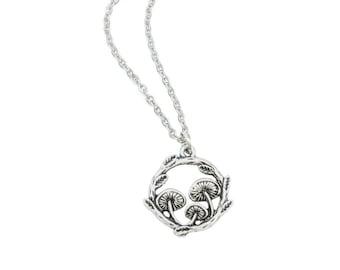 Mushroom Necklace for Women, Boho Jewelry for Gift, Silver Mushroom Pendant, Hippie Jewelry, Shroom Jewelry, Indie Necklace, Vegan Necklace