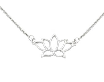 Silver Lotus Necklace for Women, Dainty Flower Necklace for Her, Lotus Flower Yoga Necklace, Jewelry Gift for Sister, Lotus Blossom Pendant