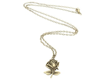 Rose Necklace for Women, Bronze Pendant Necklace, Romantic Gift for Her, Boho Necklace for Girlfriend, Flower Necklace, Anniversary Gift