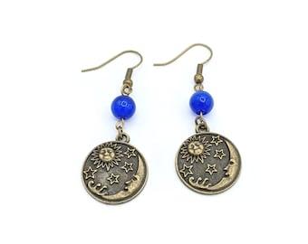 Celestial Dangle Earrings, Crescent Moon Earrings, Sun Earrings, Star Earrings, Bronze Dangle Earring, Hippy Earrings, Boho Earrings, Witchy