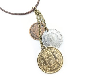 Coin Necklace For Women, Gold Coin Necklace for Her, Christmas Gift for Mom, Stocking Stuffer, Steampunk, Layering Necklace, Antique Coin