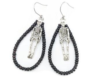 Skeleton Dangle Earrings For Women, Black Hoop Earrings, Christmas Gifts for Her, Stocking Stuffer for Teen Girl, Best Seller, Halloween