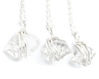 Herkimer Diamond Necklace for Women, Clear Quartz, Christmas Gift for Wife, Stocking Stuffer for Her, Raw Crystal Points, .925 Silver Chain