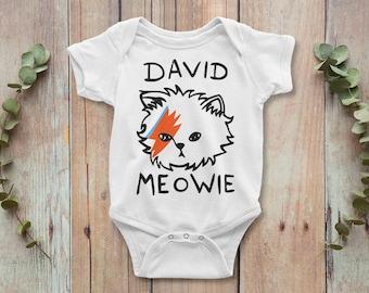 David Bowie Ziggy Stardust Meowie Baby Bodysuit, 100% Cotton Baby One-piece, Baby Onepiece, Baby Gift, Baby Shower, 1st Birthday