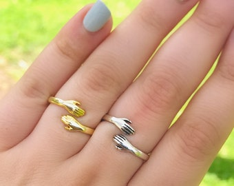 925 Silver Hands Hugging Thumb Ring,Hands Ring Silver and Gold,Hand Ring Vintage,Lover Gift,Lovers Ring,Lovers Jewelry Hands Ring for Women