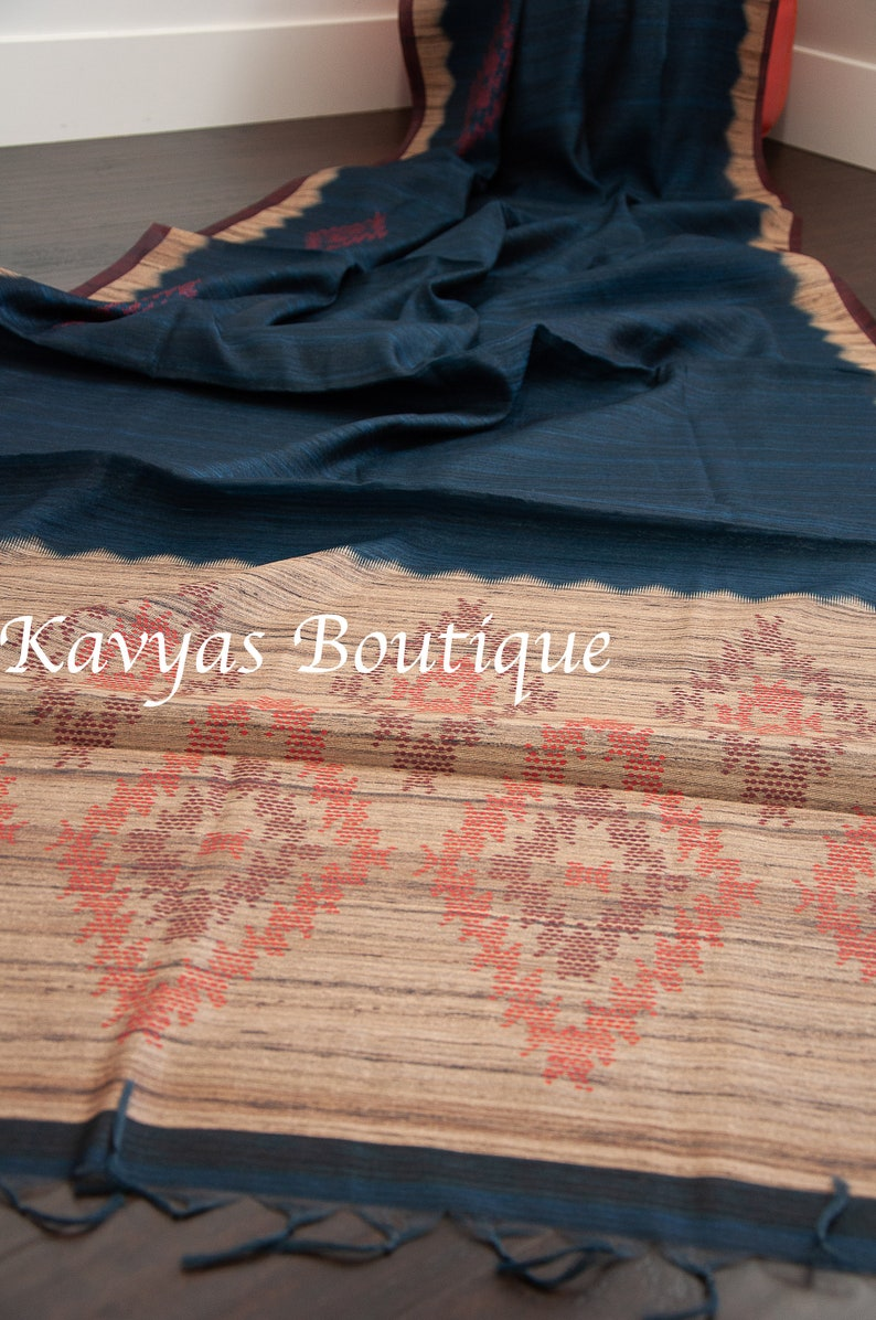 Ethnic wear Ships from Utah USA Kavya/'s Boutique Saree Sarees for women Prussian Blue Metallic Linen Blend Saree