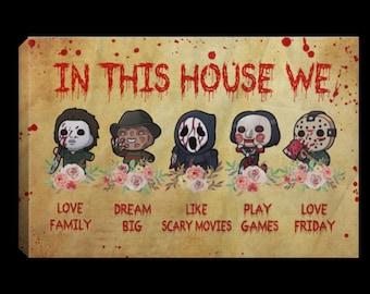 Scary Thoughts Horror Halloween Original Mixed Media Wall Art