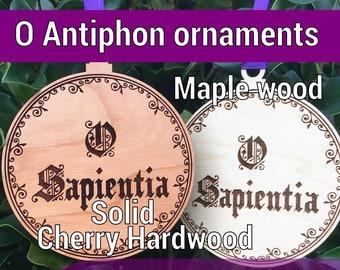 O ANTIPHONS Set of 7 large wood ornaments O Sapientia O Wisdom Catholic Advent Greater Ferias wooden TLM Ordinariate English Latin Spanish