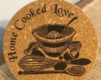 Home Cooked Love Laser Engraved Cork Trivet Kitchen Accessory