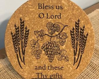 Catholic Grace Before Meals (English) Laser Engraved Cork Trivet Kitchen Accessory