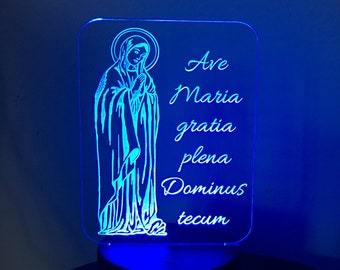 Catholic Nightlight Latin Ave Maria (Hail Mary) Edge Lit Acrylic LED base 16 colors Remote Control USB Virgin Mary prayer TLM gratia plena