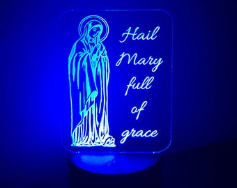 Catholic Nightlight Hail Mary Edge Lit Acrylic LED base 16 colors Remote Control USB power cord Hail Mary full of grace prayer Virgin Mary
