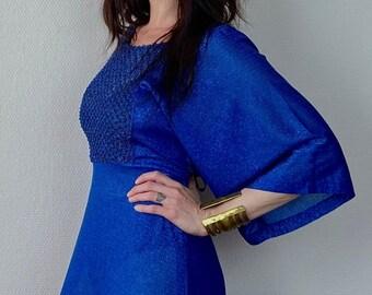 1970s Amazing blue metallic kimono sleeve maxi dress - Size S M
