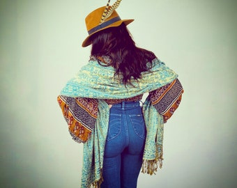 1990s Turquoise jacquard woven paisley shawl