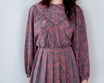 1960s gray and pink paisley print dress - Size M L