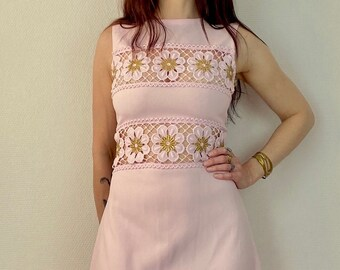 1970s pastel pink and gold lurex maxi dress - Size M L