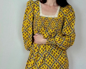 1970s yellow smock prairie dress - Size XS S