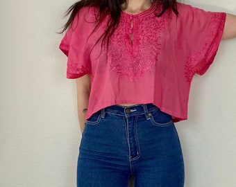 1970s pink embroidered Moroccan top - Size S M L