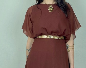 1970s Brown chiffon maxi dress with gold embellished sash - Size  M-L