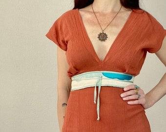 1970s patchwork fabric sash belt - Onesize