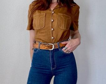 1960s Brown linen shirt - Size S M